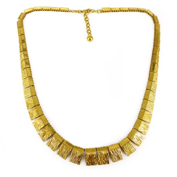 Vintage Art Deco German Andreas Daub Rolled Gold Panel Necklace
