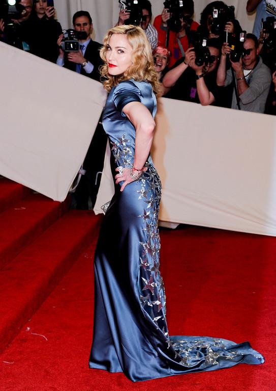 . Singer Madonna arrives at the Metropolitan Museum of Art Costume Institute gala, Monday, May 2, 2011 in New York.  (AP Photo/Evan Agostini)