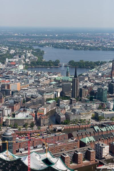Luftaufnahme Hamburg Innenstadt mit Alster
