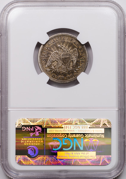 1853 25C QUARTER DOLLAR - SEATED LIBERTY, ARROWS & RAYS NGC VF35 2040989-054 CAC Rev Slab.jpg