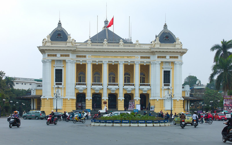 French Opera House, Hanoi, Vietnam.  The Hanoi Opera House (Vietnamese: Nhà hát lớn Hà Nội) is an opera house in central Hanoi, Vietnam. It was erected by French colonists between 1901 and 1911.  (Only steps from the Sofitel Metropole.)  The Hanoi Opera House is considered to be a typical French colonial architectural monument in Vietnam and is also a small-scale replica of the Palais Garnier, the older of Paris's two opera houses.  The Hanoi Opera House provides the name for the nearby Hilton Hanoi Opera Hotel which opened in 1999 and which, for historical reasons associated with the Vietnam war, was not named the Hanoi Hilton.  The Saigon Opera House is a smaller structure built around the same time.  http://en.wikipedia.org/wiki/Hanoi_Opera_House
