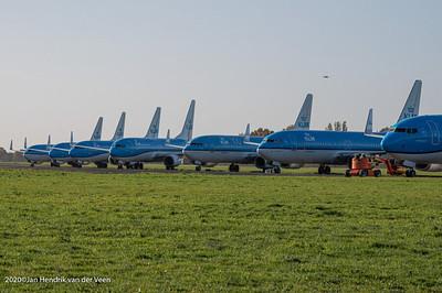 Transport-Eelde-KLM vloot geparkeerd ivm corona