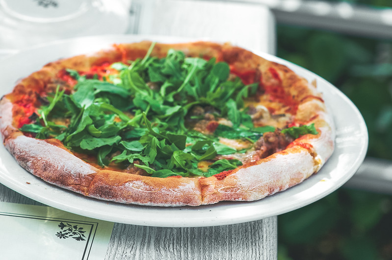Sausage  Pizza with Arugula
