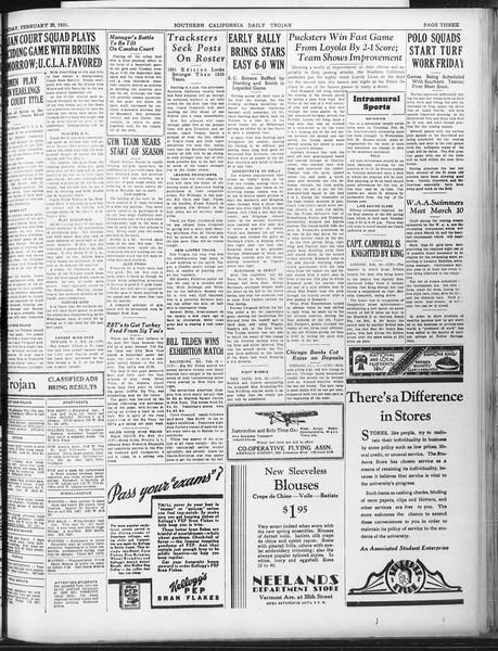 Daily Trojan, Vol. 22, No. 92, February 20, 1931