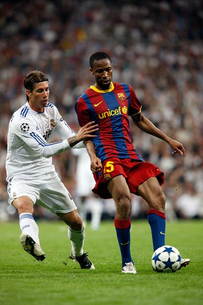 Sergio Ramos marking Keita, UEFA Champions League Semifinals game between Real Madrid and FC Barcelona, Bernabeu Stadiumn, Madrid, Spain