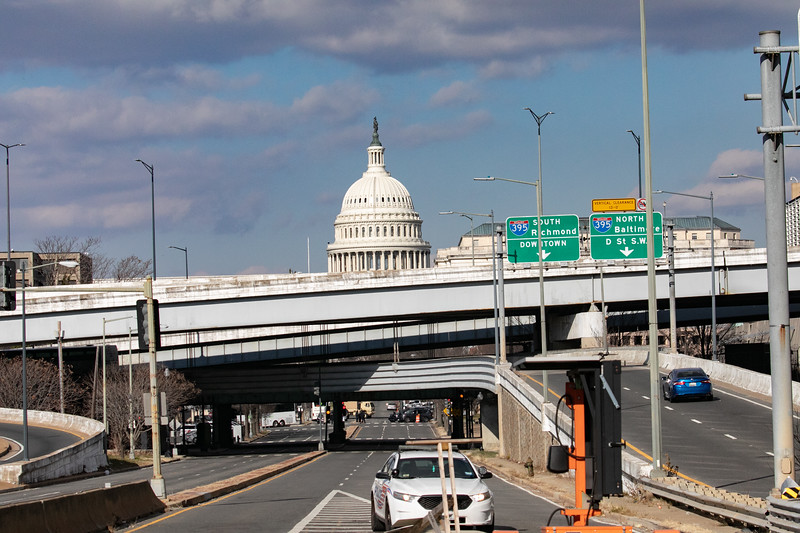 Metropolitan Police block a highway onramp near the U.S. Capitol on inauguration day