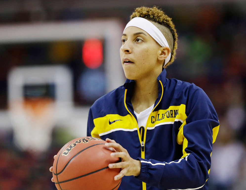 . California guard Layshia Clarendon warms up before the women\'s NCAA Final Four college basketball tournament semifinal against Louisville, Sunday, April 7, 2013, in New Orleans. (AP Photo/Dave Martin)
