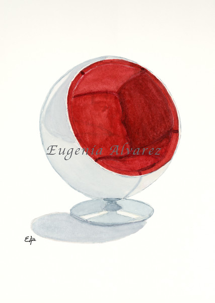 The Ball Chair. Painting Art Print Furniture Art Print Fine Art Print from Watercolor Painting Famous Chair  Art Print Eero Aarnio Watercolor Wall Art