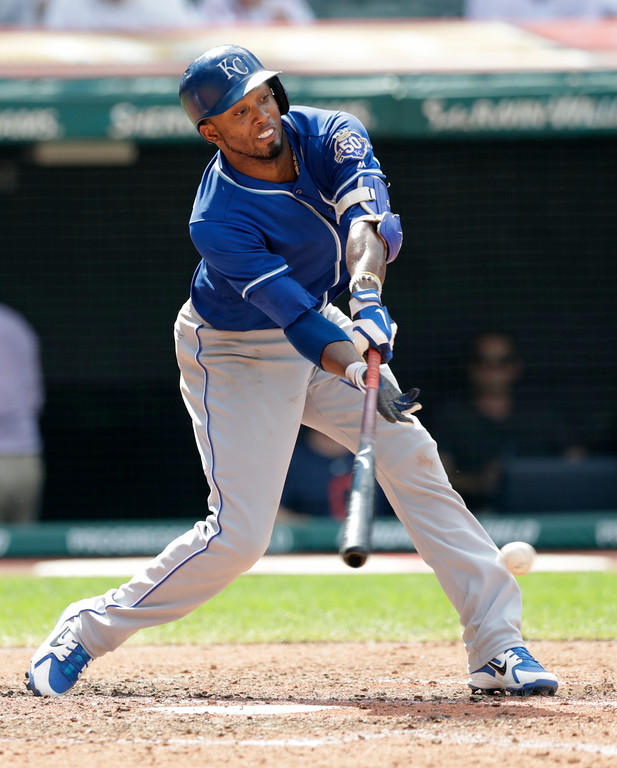 . Kansas City Royals\' Alcides Escobar strikes out swinging in the eighth inning of a baseball game against the Cleveland Indians, Wednesday, Sept. 5, 2018, in Cleveland. (AP Photo/Tony Dejak)