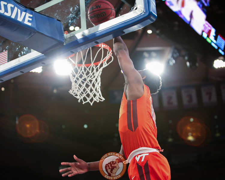 Virginia Tech's guard Justin Bibbs (10) dunks against St. Louis in Madison Square Garde, Nov. 16, 2017. St. Louis upset Virginia Tech with a 77-71 win.