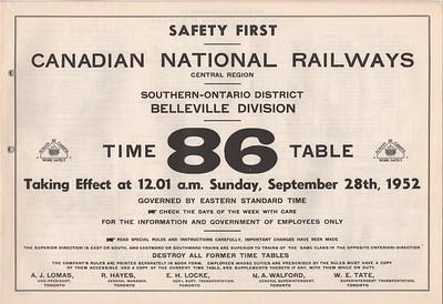 CNR Belleville ETT 1952 September 28