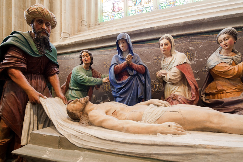 The burial of Jesus, 16th century sculpture by Froc-Robert, Cathedral of Quimper, departament of Finistere, region of Brittany, France
