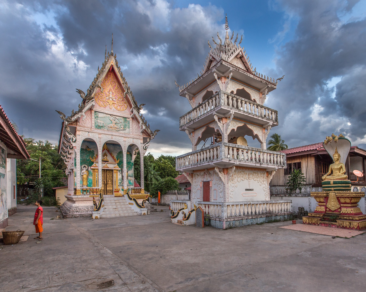 Buddhist Temple Before a Storm in Vientiane, Laos