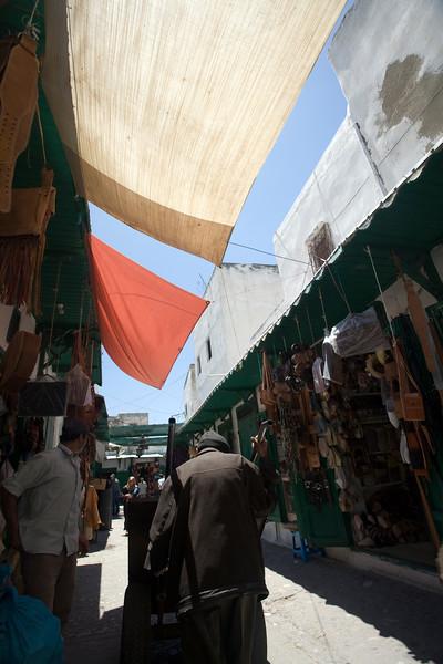 Shaded souk with canopies, Tetouan medina, Morocco