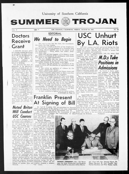 Summer Trojan, Vol. 15, No. 14, August 20, 1965