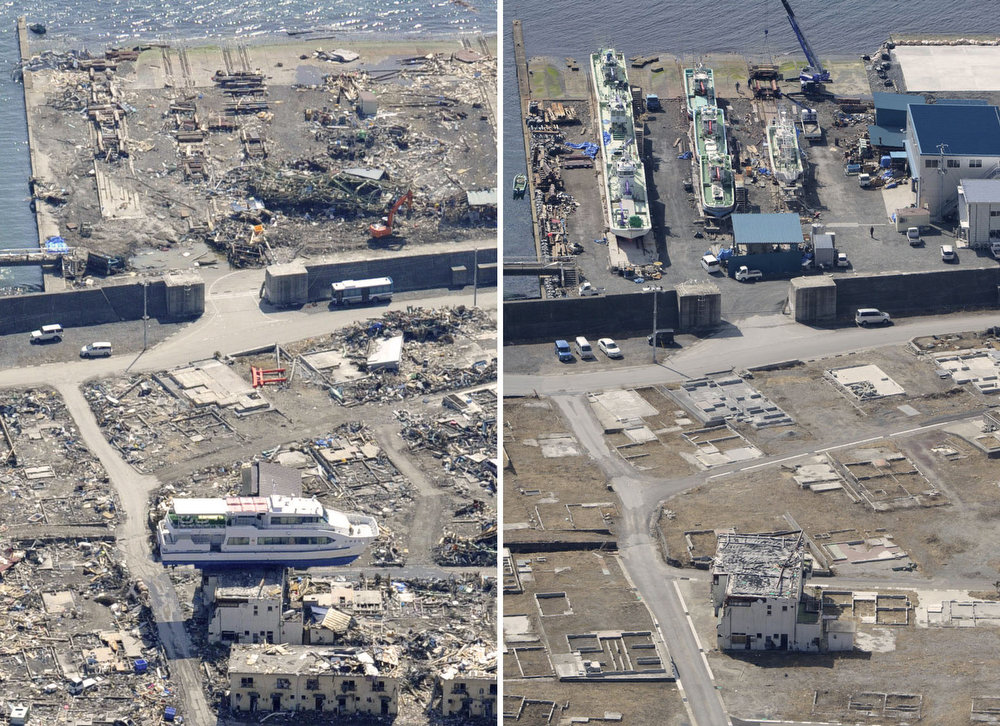 Description of . This combination photo shows an aerial view of Otsuchi, Iwate prefecture on April 10, 2011, left, and Monday, March 4, 2013. A sightseeing boat sitting atop a building by the March 11, 2011 tsunami was demolished and taken away while a shipyard which was totally destroyed by the tsunami has resumed its operation. Monday, March 11, 2013 will mark the 2-year anniversary of the earthquake and tsunami which devastated the northeastern Pacific coast of Japan.  (AP Photo/Kyodo News)