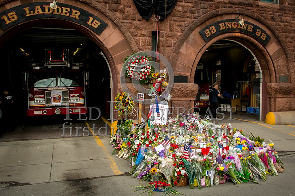 Boston MA - LODD Memorial to Lt Walsh of Engine 33 & FF Kennedy of Ladder 15
