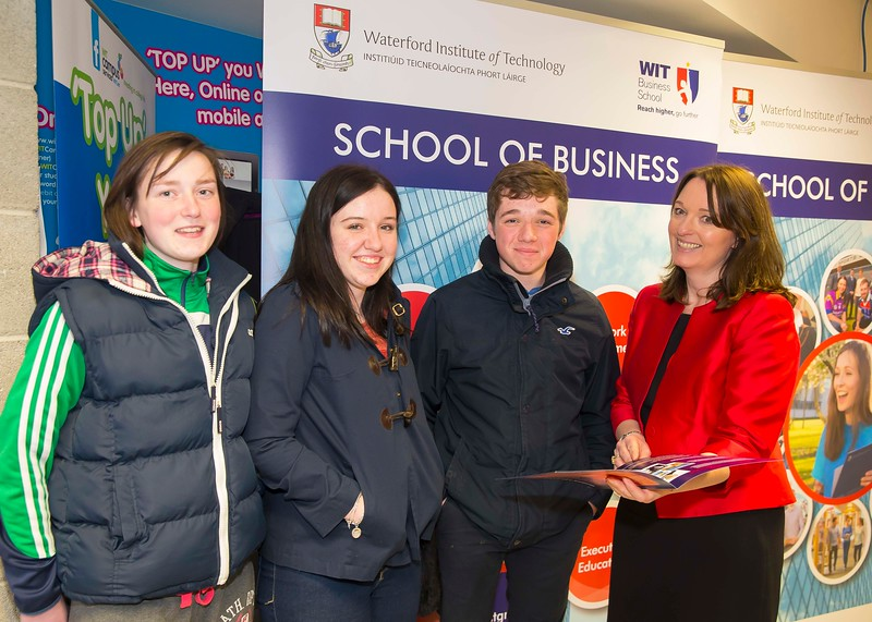05/04/2016. Waterford Institute of Technology (WIT) CAO Information Evening are Cora Millar, Zara Lee, Conor Power from Bridgetown, Wexford with Dr. Brigid Milner Picture: Patrick Browne  Prospective students travelled from far and wide to the Waterford Institute of Technology (WIT) CAO Information Evening on Tuesday 5 April to hear in detail about the brand new WIT President's Scholarship Programme worth up to €12,000 a year for five students. For September 2016, WIT is offering an exciting new scholarship scheme which encourages and rewards young people who show a capacity to shape a better society. WIT has 70 CAO courses. Details are available at www.wit.ie/caoscholarship