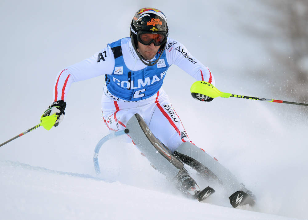 Description of . Austrian Mario Matt competes in the first run of FIS World Cup men's slalom on December 8, 2012 in Val d'Isere, French Alps.     AFP PHOTO/PHILIPPE  DESMAZES/AFP/Getty Images