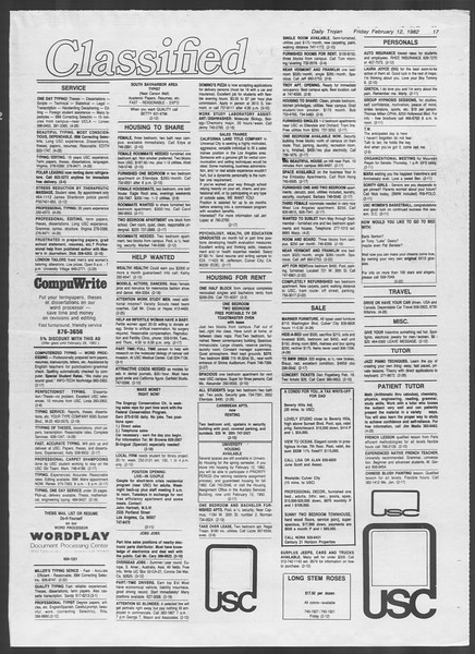 Daily Trojan, Vol. 91, No. 23, February 12, 1982
