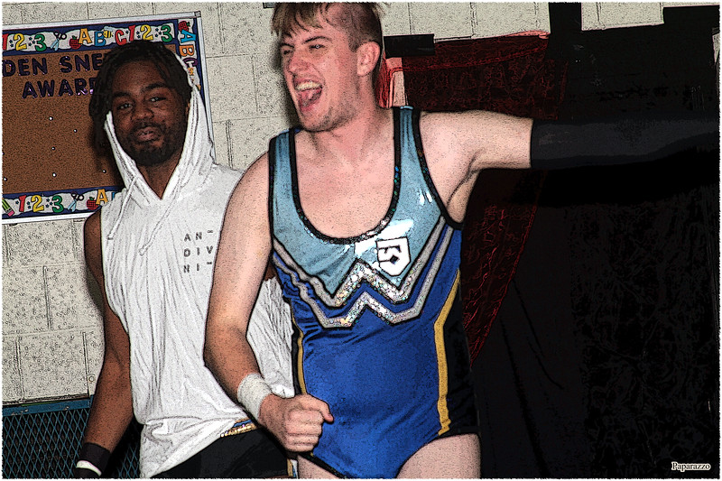 "Xavier Faraday and Joshua Wells of Oreo Speedwagon during the UFO Wrestling ""Monsters Ball"" show held on October 25, 2019 at the Tynan Community Center in South Boston, Massachusetts."
