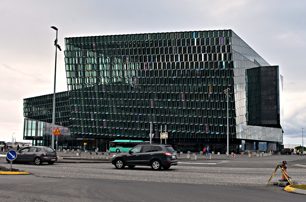 Exterior of Harpa Concert Hall in Reykjavik Iceland