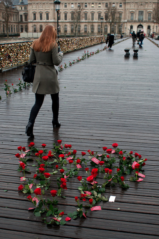 . Roses are displayed on the Pont des Arts bridge by French watchmaker Sismeek, to mark the Valentine\'s Day, in Paris, Friday, Feb. 14, 2014. Valentine\'s Day is observed on February 14 each year as a special day to celebrate love and romance. (AP Photo/Thibault Camus)