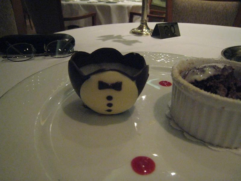Too cute!  A tuxedo chocolate cup!