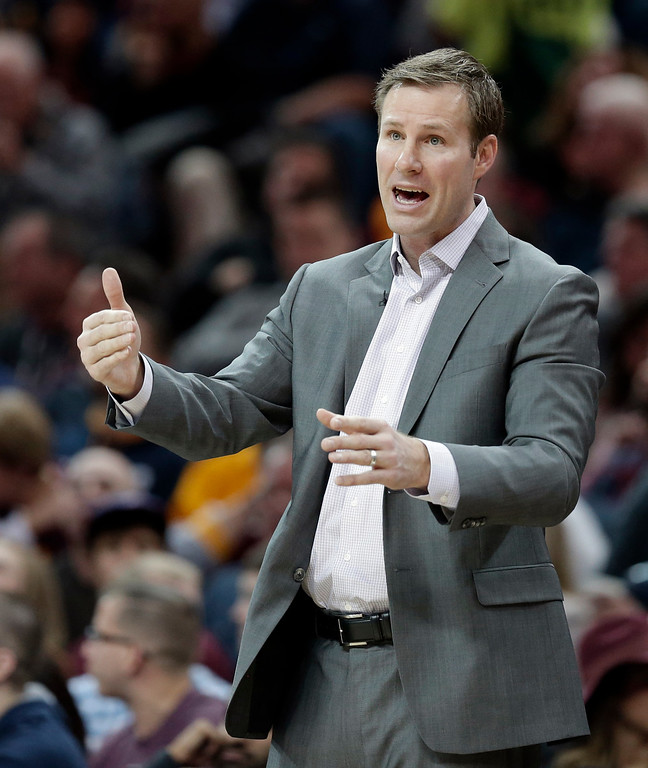 . Chicago Bulls coach Fred Hoiberg shouts to his players during the first half of an NBA basketball game against the Cleveland Cavaliers, Saturday, Jan. 23, 2016, in Cleveland.  The Bulls won 96-83. (AP Photo/Tony Dejak)