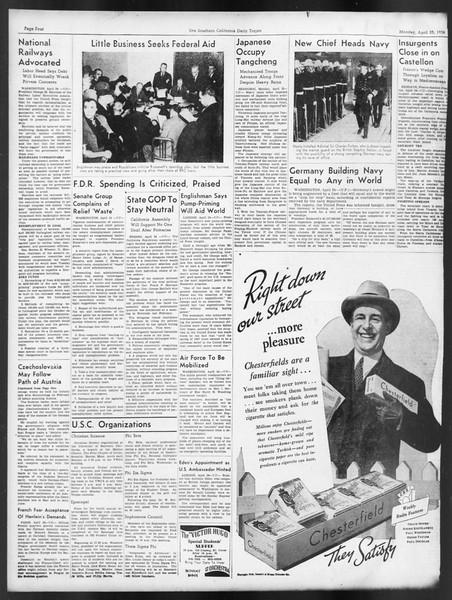 Daily Trojan, Vol. 29, No. 122, April 25, 1938