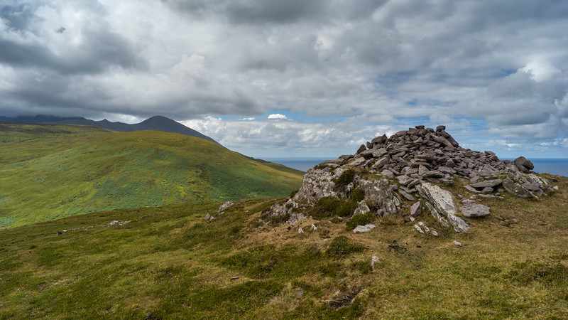 Stack of stones on a hill, Brandon Point, Murirrigane, Brandon, County Kerry, Ireland