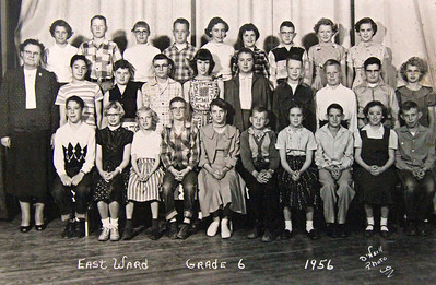 """Have fun trying to guess who's who in this 1956 photo of the East Ward 6th Grade.   Many of these good folks went on to graduate from Chadron High School in 1962. Click on the photo to select a larger image.  Karen Kindig (third from left in front row) seems to be wondering, """"I wonder what these guys will look like in 50 years?""""  Some of the answers can be found elsewhere in this gallery!"""