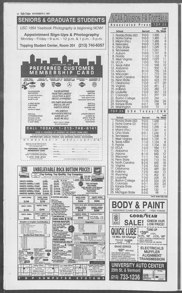 Daily Trojan, Vol. 121, No. 49, November 09, 1993