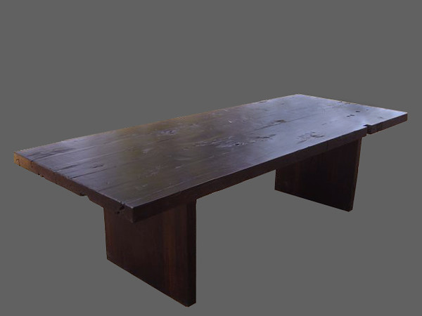 Contemporary Brauna table, named after it's style and the type of very heavy, solid dark almost black reclaimed wood the table is made of. Maison e Maison
