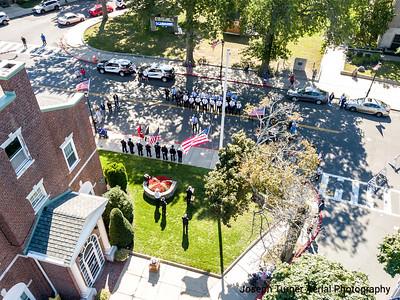 9/11 Memorial Service, Fire Dept & Davenport Memorial Home Flag Display
