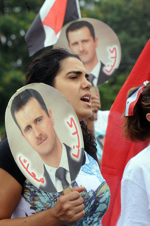 . Jacklin Sabbagh of Whillhall, Pa., was part of the Syrian community protest of  U.S. or NATO involvement in Syria\'s unrest Friday, Aug. 30, 2013, in Allentown, Pa. (AP Photo/ Express-Times, Sue Beyer)