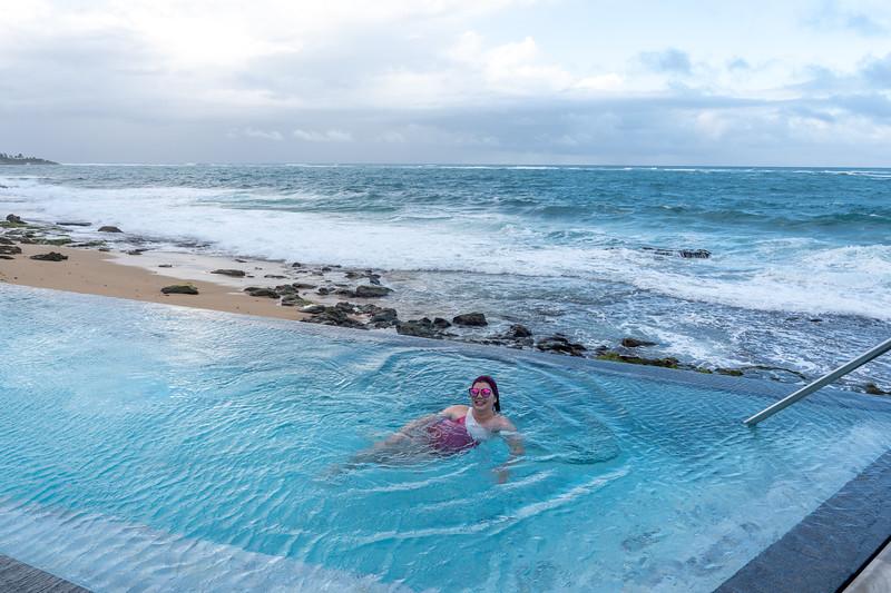 In the pool at Serafina Beach Hotel