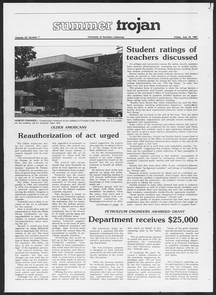 Summer Trojan, Vol. 90, No. 7, July 10, 1981