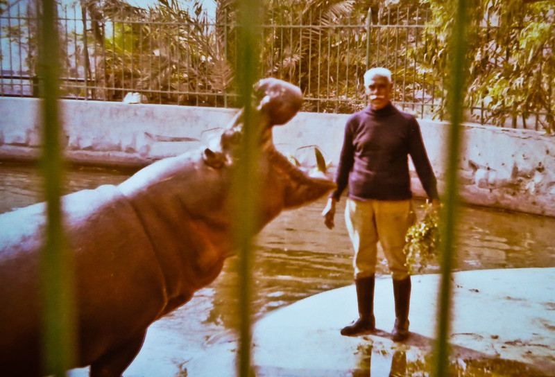 1982, Alexandria Zoo.  Best Hippo-Keeper ever.  He used to let us feed the hippo.  :-)