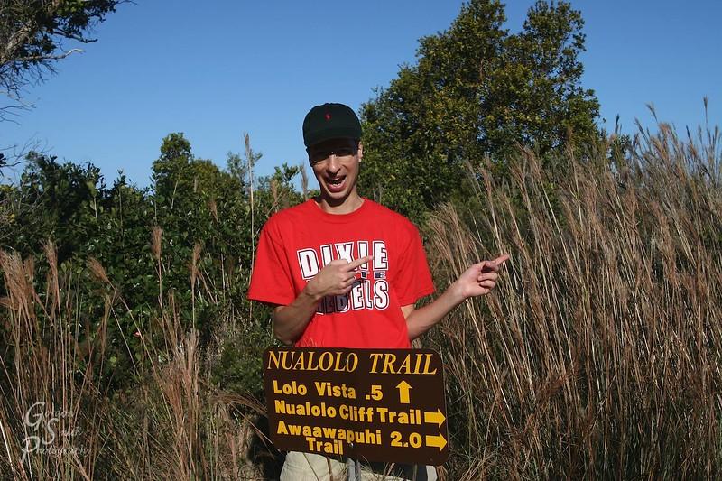 Gordon Smith hiking the Awa'awapuhi Trial, Kauai
