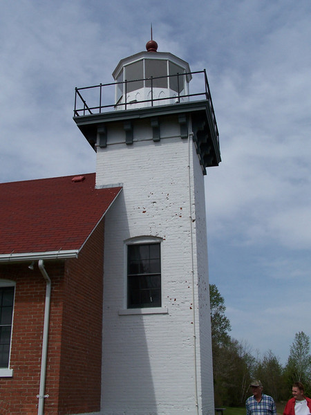 Sherwood Point Lighthouse: The tower is 35 feet tall and sits atop a limestone bluff. The light's total height above Green Bay is 60 feet.