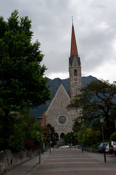 The Vaduz Cathedral facade in Vaduz, Liechtenstein