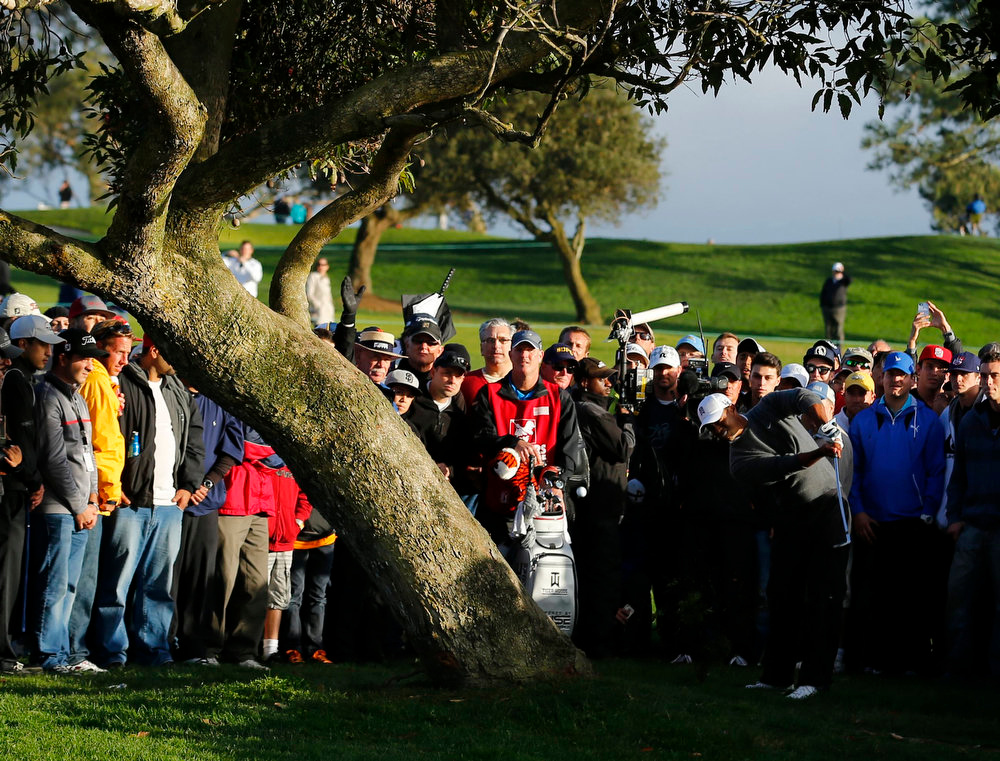 Description of . U.S. golfer Tiger Woods bends his shot around a tree on the fourth fairway during weather delayed fourth round play at the Farmers Insurance Open in San Diego, California January 27, 2013. REUTERS/Mike Blake