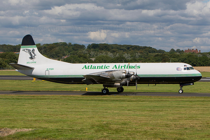 G-FIZU. Lockheed L-188C(F) Electra. Atlantic Airways. Prestwick. 090807.
