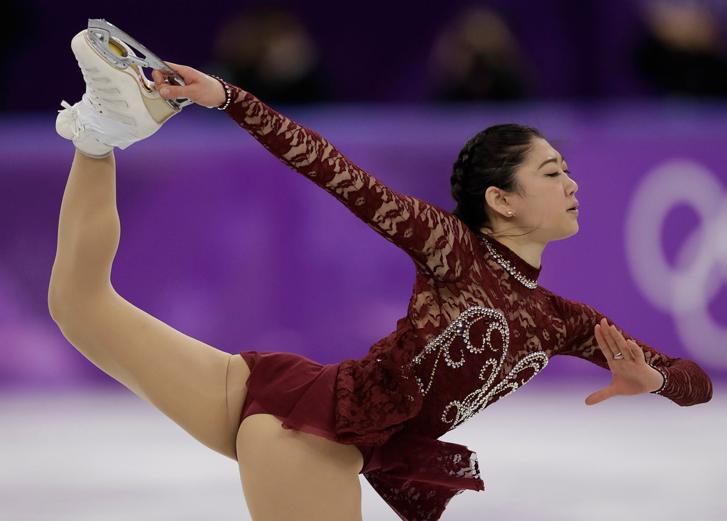 . Mirai Nagasu of the United States performs during the women\'s short program figure skating in the Gangneung Ice Arena at the 2018 Winter Olympics in Gangneung, South Korea, Wednesday, Feb. 21, 2018. (AP Photo/Bernat Armangue)