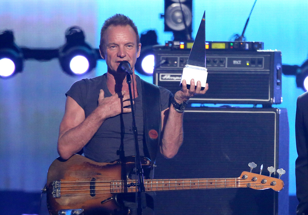 . Sting accepts the award of merit at the American Music Awards at the Microsoft Theater on Sunday, Nov. 20, 2016, in Los Angeles. (Photo by Matt Sayles/Invision/AP)