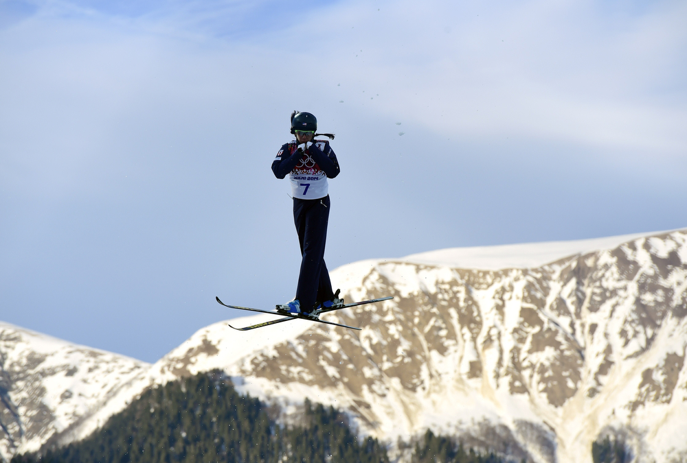 . US Emily Cook competes in the Women\'s Freestyle Skiing Aerials Qualifications at the Rosa Khutor Extreme Park during the Sochi Winter Olympics on February 14, 2014.         (JAVIER SORIANO/AFP/Getty Images)