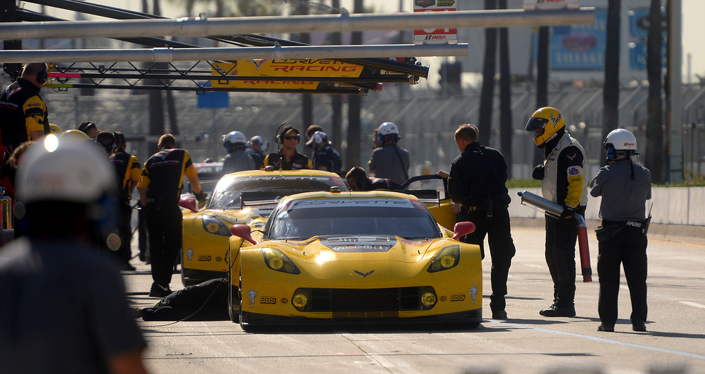 . TUDOR Championship drivers make pit stops during practice in Long Beach, CA on Friday, April 17, 2015. The 40th annual Toyota Grand Prix of Long Beach kicked off with practices for all of the racing divisions. (Photo by Scott Varley, Daily Breeze)
