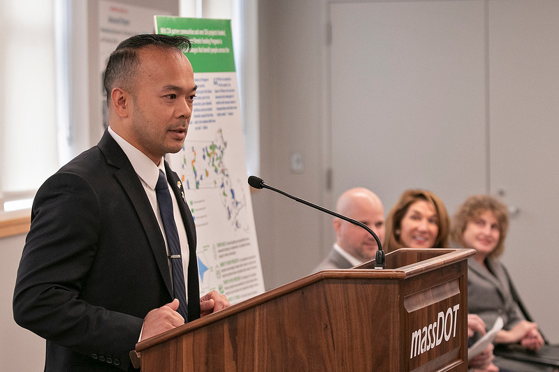 The Lt. Gov. Karyn Polito was on hand in Fitchburg for the Complete Streets Funding Program Awards FY20 Tuesday, Jan. 28, 2020. State Senator Dean Tran addresses the crowd at the event. SENTINEL & ENTERPRISE/JOHN LOVE