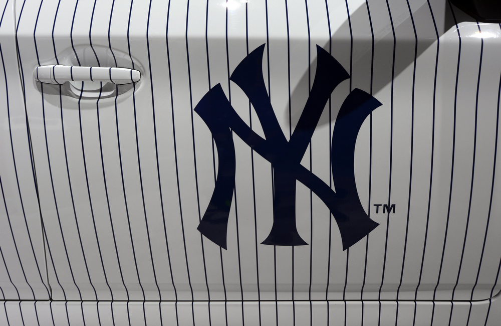 . The 2014 Toyota Prius New York Yankees Edition is on display during the second  press preview day at the New York International Auto Show March 28, 2013 in New York.   TIMOTHY A. CLARY/AFP/Getty Images